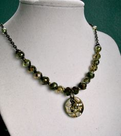 Forest Floor  Czech Glass Beaded Necklace with by StrandedBeads, $40.00