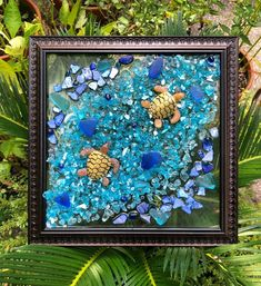 """Sea Turtles!!! 8x8 Resin Beach Glass Window or Wall Art-Suncatcher w/ Real Seashells and Starfish for Beach House Decor/Colorful Beachy Coastal Decor  FUN little sea turtles in a design of crushed shell and glass - all bonded (not glued) to glass with resin and framed in a pretty 8"""" x 8"""" lightweight Beach House Decor, Home Decor, Window Art, Beach Art, Resin Art, Suncatchers, Coastal Decor, Sea Shells, Glass Art"""