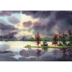 Sunset boat painting Watercolor  Landscape painting original painting Lake with water reflections fall trees art 5x7