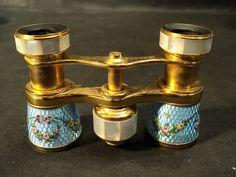 "Antique Gorgeous ""Lemaire"" Blue Guilloche Enamel French Opera Glasses   eBay"