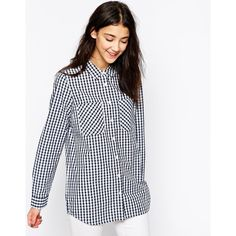 Vero Moda Gingham Check Long Sleeve Shirt ($26) ❤ liked on Polyvore featuring tops, blue, blue shirt, white long sleeve shirt, white tops, white long sleeve top and long sleeve shirts