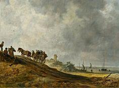 Jan van Goyen - Vissers verlaten in 1638 via het Schuitengat het strand van Scheveningen