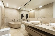 interior, Awesome Bathroom In Stylish Design With Large Mirror And Cool Textures Wall And Stylish Standalone Tub Also Modern Sink: Taupe Int...
