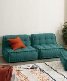 Sully Modular Large Floor Cushion, Teal Cotton Slub