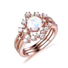Round Africa Opal Engagement Ring Trio Bridal Sets Tiara Curve Diamond Wedding Band 14k Rose Gold 6.5mm - 4.75 / 14K Yellow Gold