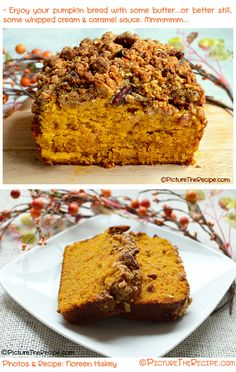 Recipe for a sweet and moist pumpkin bread with a crunchy pecan streusel topping. The perfect pumpkin recipe for those who aren't even pumpkin fans!