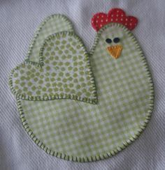 Pano de prato, you knew where I would put this chicken pattern--db