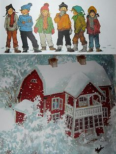 Astrid Lindgren, Swedish writer and illustrator. These are the children of Noisy Village.