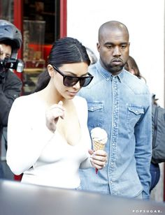 Pin for Later: All the Times Kanye West Didn't Smile This Year (but Probably Should Have) When He Took Kim Out For Ice Cream