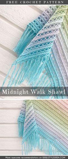 Midnight Walk Shawl Free Crochet Pattern#crochetscarf #crochetfreepattern #crochetshawl
