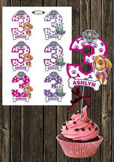 Paw Patrol personalized Paw Patrol Number 3 Centerpieces