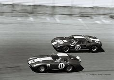 Shelby American cars at the 1965 Daytona 2000 Km.  Bob Bondurant and Richie Ginther drove the #72 Shelby American Ford GT40 to a third place finish at Daytona in 1965. Ed Leslie and Allen Grant drove the #11 Shelby American Cobra Daytona Coupe to a sixth place finish    The winning car was another Shelby GT40. This was the height of the Ford - Ferrari War and Shelby did an amazing job of turning the GT40 into a winner. Ford in Dearborn didn't do well with the early GT40's so they literally…