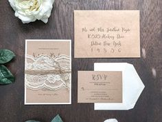 Rustic Kraft Wedding Invitation Set with Ivory Lace Wrap and Twine, Rustic Elegant Invite, Country Chic, Vintage Romantic Barn Wedding Glitter Wedding Invitations, Country Wedding Invitations, Elegant Wedding Invitations, Floral Wedding Invitations, Chic Wedding, Rustic Wedding, Lace Wedding, Antler Wedding, Wedding Ideas
