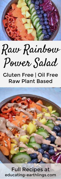 Raw Rainbow Power Salad raw vegan salad vegan protein plant based protein healthy salad healthy weight loss meals for weight loss weight loss salad Weight Loss Meals, Healthy Recipes For Weight Loss, Healthy Weight, Weight Gain, Plant Based Diet, Plant Based Recipes, Raw Vegan Recipes, Vegetarian Recipes, Vegan Raw