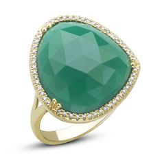 Dabakarov 14KYG Pebble Green Agate Diamond Halo Ring