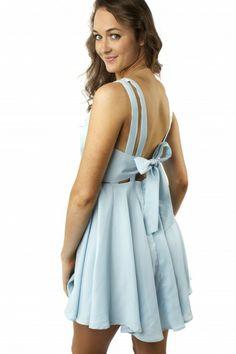 Tied Up Powder Blue Dress $29.99 #sophieandtrey #dresses #straps #tieback #powderblue