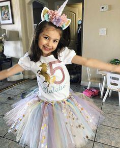 5th Birthday Girls, Birthday Girl Pictures, Birthday Party Outfits, Little Girl Birthday, Birthday Tutu, Unicorn Birthday Parties, Unicorn Party, Birthday Shirts, Girl Birthday Outfit