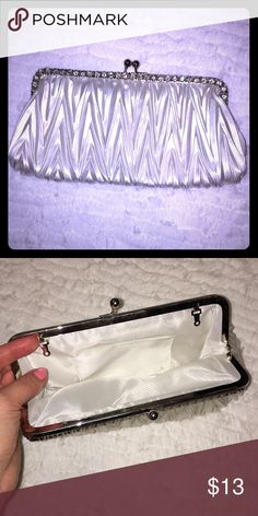 White Clutch Bag Dimensions- 9.5 in x 4.75 in  Used once for my wedding Bags Clutches & Wristlets