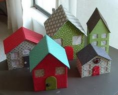 Paper House Tutorial. Want to make a village for Christmas this year - maybe ask friends to donate a house each to me, organise a swap?.