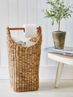 Hand-crafted, this stylish rattan toilet roll holder combines a hand-woven water hyacinth rattan basket exterior with a removable wooden toilet roll holder in the top. Modern Powder Rooms, Bathroom Inspiration, Toilet Roll, Toilet, Home Accessories, Bathroom Ornaments, Storage Baskets, Toilet Roll Holder, Loo Roll Holders