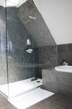 39 Creative Small Bathroom Glass Shower Design Ideas That Will Make More Enjoyable When Take Bath - Nowadays the life is running faster than ever, when everybody are in hurry to complete their daily duties. After a hard day at work you certainly are . Attic Shower, Small Attic Bathroom, Loft Bathroom, Upstairs Bathrooms, Bathroom Design Small, Shower Floor, Bath Design, Modern Bathroom, Remodel Bathroom