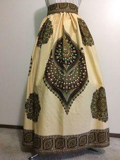 African Print Skirt- Peacock Print Maxi Skirt