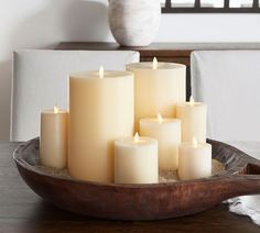 Premium Flicker Flameless Wax Pillar Candle, 6 x Ivory at Pottery Barn – Hobbies paining body for kids and adult