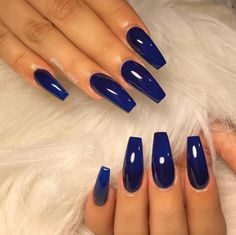 Excellent Glossy Dark Blue Nail Polish Style Tips For Discover here the M. - Excellent Glossy Dark Blue Nail Polish Style Tips For Discover here the Most Romantic Gorge - Dark Blue Nails, Blue Coffin Nails, Blue Acrylic Nails, Dark Color Nails, Summer Acrylic Nails, Acrylic Art, Spring Nails, Gorgeous Nails, Pretty Nails