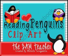 Reading Penguins Clip Art Collection product from The-3AM-Teacher-Designs on TeachersNotebook.com