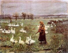 The Goose Girl, 1883, by Teodor Axentowicz (Armenian, 1859-1938)