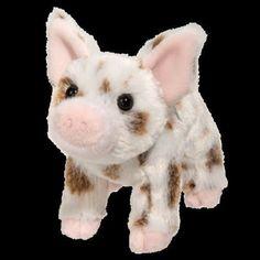 "YOGI 6"" PIG stuffed plush animal toy pink white brown spots Douglas Cuddle Toy #Douglas"