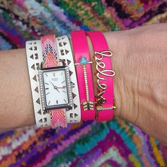 PiNK! My double wrap pink pop with Believe & arrows. And don't you just adore the pink chevron woven bracelet with the cuff behind it and the bling watch?! Reminds me of the friendship bracelets I used to make Comment or message me for more info, ?s, help ordering, personalizing a design #keepcollectivewithsarahshult #KEEP #keepcollective #personalizedjewerly #customgifts #friendshipbracelets #mompreneur #sahmlife #momstyle #armcandy #accessories #fashionaddict #armswag #workfromhome