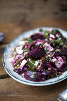 On a cold and dreary fall or winter day, this vibrant purple Roast Beetroot, Feta and Lentil Salad will excite and delight all of the senses.