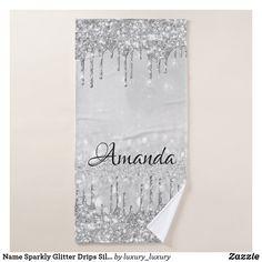 Name Sparkly Glitter Drips Silver Gray Grey Bath Towel Glitter Home Decor, Grey Bath Towels, Grey Baths, Artwork Design, Print Design, Silver, Prints, Minimal, Indoor