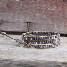 Chan Luu Style 3x Wrap Beaded Leather Bracelet  Boho Triple Wrap Bracelet