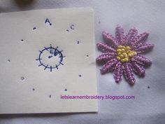 For this double cast-on daisy, I've used Anchor pearl cotton thread. make double cast-on daisy, draw a diameter circle. Embroidery Stitches Tutorial, Learn Embroidery, Embroidery Patterns Free, Embroidery Techniques, Ribbon Embroidery, Cross Stitch Embroidery, Cross Stitch Patterns, Embroidery Designs, Brazilian Embroidery