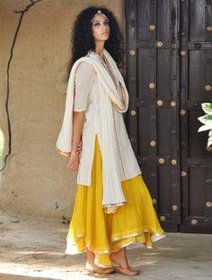 Ivory-Mustard Gota Embellished Cotton Kurta-Lehenga & Dupatta Set of 3
