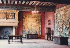 I took this photo of the Hall of Honour at Chateau de Blois.  The magnificent fireplace features the salamander on the left and the ermine on the right – the emblem of Queen Claude, who died in 1524.  And note the beautiful hand-painted ceiling.