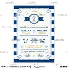Nautical Stripes Engagement Party Invitation
