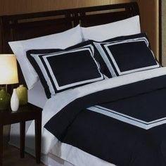 3pc Modern Hotel Navy Blue/White Framed Duvet Cover Set - Hotel look in a classic navy and white #white navy duvet cover