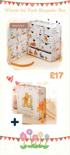 Winnie the Pooh Keepsake Box 794619 For those special moments... A timeless keepsake box for those precious baby mementos. Decorated with the classic Winnie the Pooh design and finished with satin ribbon. Open the box and inside are little labelled drawers each to place a different memento: My dummy, My first mittens, My precious things, My hospital bracelet, My bits & bobs, My treasures, My first shoes and My first scan.  Overall size is H22.5 x W22.5 x D9cm
