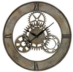 """Rossmeen Court Wall Clock Free Shipping! 30-Day Money-Back Guarantee! 1-Year Manufacturer Warranty!  The Rossmeen Court Industrial Cog wall clock is made of metal and features a silver with champagne antique finish.   Quartz clock movements ensure reliability and trouble-free service. Includes 1-year manufacturer warranty. Requires 1 """"AA"""" battery (not included.)   Rossmeen Court Wall Clock Diameter: 30"""", Depth: 1""""   843558079902"""