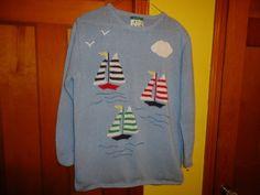 Quacker Factory Cotton Blend Ladies L/S Sweater.  Sailboat Motif. Medium #QuackerFactory #PullOver