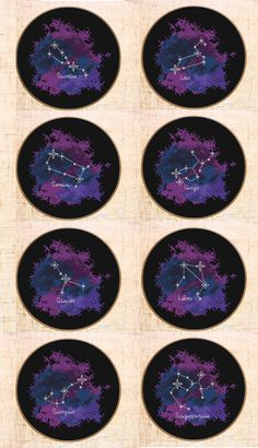 12 Constellations Cross stitch patterns | Modern cross stitch | Star sign cross stitch | Celestial Zodiac cross stitch