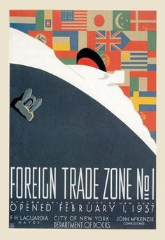 Foreign Trade Zone No. 1: NY City Department of Docks 28x42 Giclee on Canvas