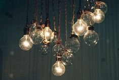 Light bulbs with old ropes to hide the wire electrical