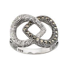 Lavish by TJM Sterling Silver Marcasite & Crystal Teardrop Ring, Women's, Size: 9, multicolor