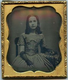 1/6 plate Daguerreotype of a young woman with black lace gloves in Collectibles, Photographic Images, Vintage & Antique (Pre-1940), Daguerreotypes | eBay