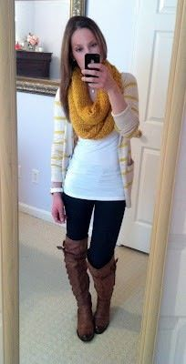 infinity scarf, long t-shirt and long sweater, leggings