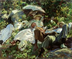 Group with Parasols, a Siesta by John Singer Sargent | Art Posters & Prints